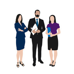 Business people vector illustration. Group of two women and one
