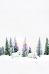Christmas polar and grizzly bears in Snowy Winter Forest - Christmas trees