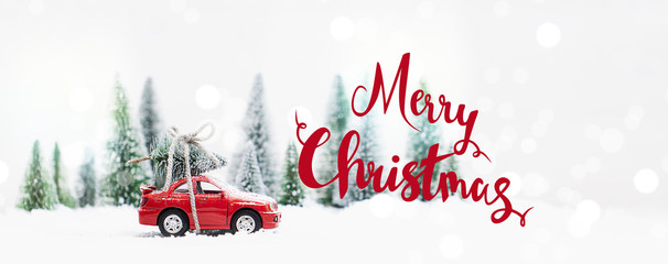 Snowy Winter Forest with miniature red car carrying a  christmas tree