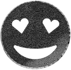 black smiling face shining with heart-shaped eyes
