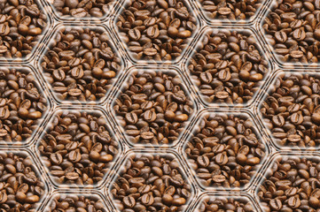 Coffee background: polygons with images of coffee, interconnected