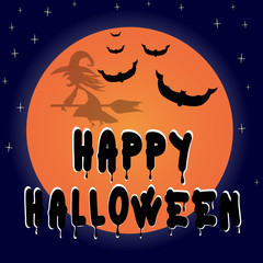 Vector illustrated Happy Halloween greeting card with witch.