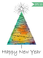 Watercolor-style isolated vector illustration of Christmas or New Year Tree. Whith hand-drawn elements . On white background Colorful