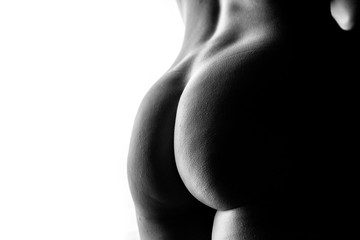 Sexy Po einer hübschen Frau, schwarz weißer Hintergrund