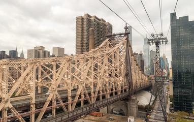Beautiful aerial view of Queensboro Bridge connecting Manhattan