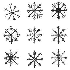 Vector Set of Black Sketch Snowflakes