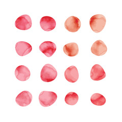 Vector red watercolor spots. Stained petals. Hand painted circles set.
