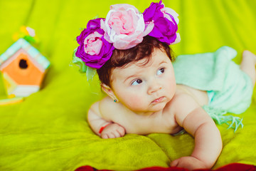 Beautiful photography little newborn girl