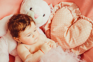 portrait of little beautiful newborn girl