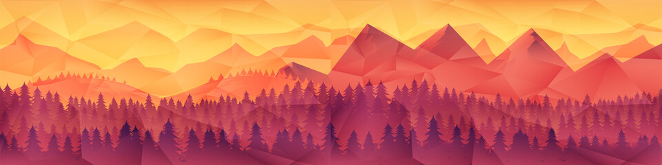 Low poly triangle geometrical background with mountain range over sunset. Vector illustration.