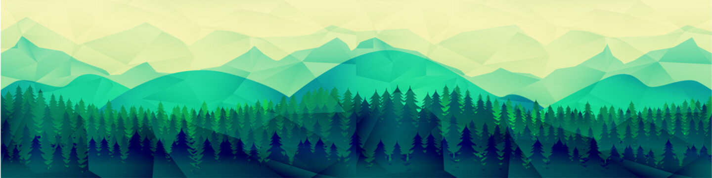 Low poly mountains landscape vector background. Polygonal shapes peaks with snow on top and trees around. Sunset wallpaper. Eps10  illustration.