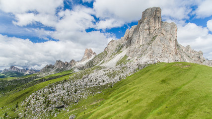 Aerial view of Dolomite Mountains