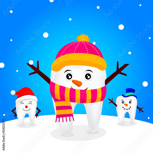 Snow teeth character. winter of tooth. Christmas illustration ...