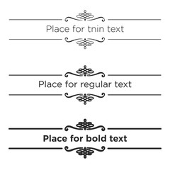 Retro text dividers set. Vintage border elements. Different size of stroke for thin, regular and bold text.