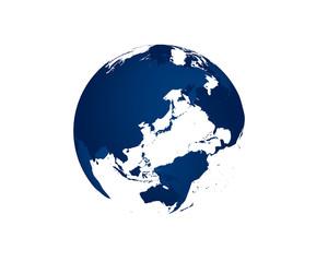 地球の立体イラスト(青)
