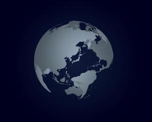 地球の立体イラスト(暗い背景)