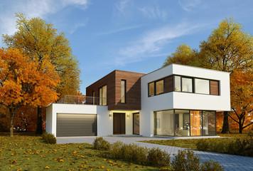 Haus Kubus Holz Herbststimmung