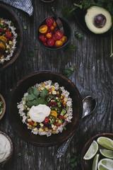 Mexican Burrito Bowl with Cashew Chipotle Cream Sauce