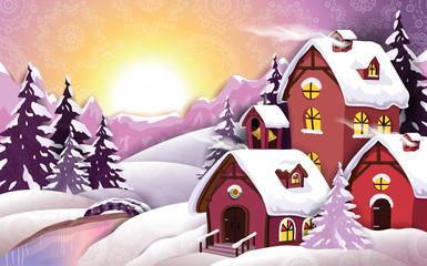 Decorated snowy winter village