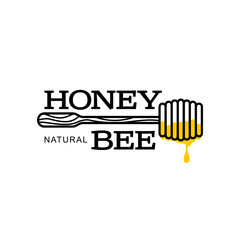 Honey dipper apiary logo, sketch style vector illustrations isolated on white background. Hand-drawn honey dipper logo for honey products, labels, bee farms and apiaries