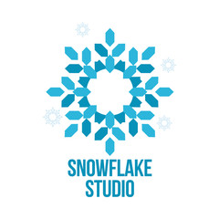 blue and white snowflake vector logo templates isolated on white background. abstract snowflake logo, frozen product, Christmas celebration, winter activities logo design