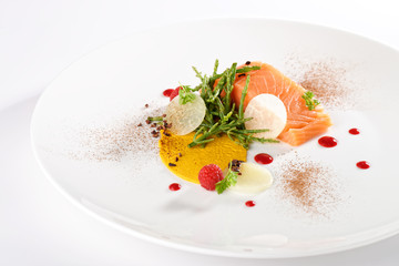 Haute cuisine appetizer, fresh salmon fillet with vegetable