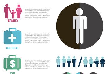 Gender-Based Data Infographic with Pictogram People and Milestone Icons