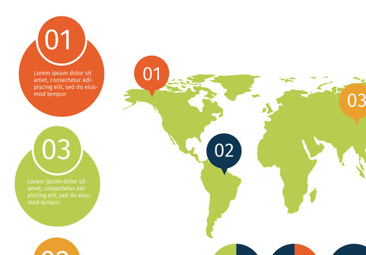 Global Data Infographic with Pie Charts and 4 Circular Tabs