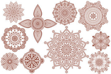 Collection of henna tattoo Hindu ornaments. Vector illustration.  Wall mural