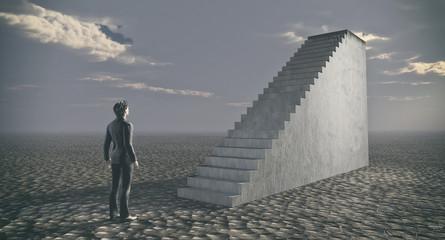 Thinking businessman standing near ladder.