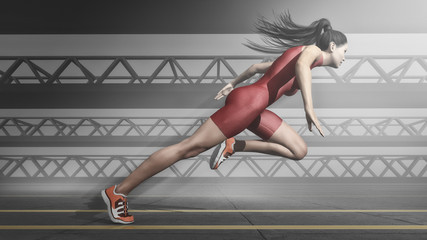 Woman athlete running on track.