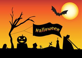 Halloween vector design on the orange background.