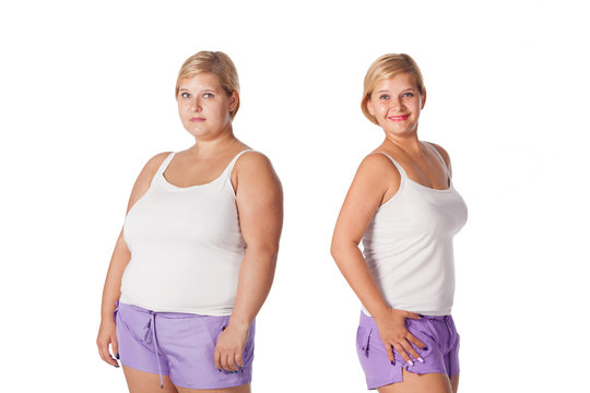 before and after weight loss. rejuvenation. Fat woman comparison thin