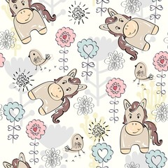 Cute hand draw seamless pattern with horse.