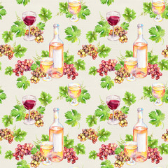 Repeated pattern. Wine glass, bottle, vine leaves, grape berries. Watercolor.