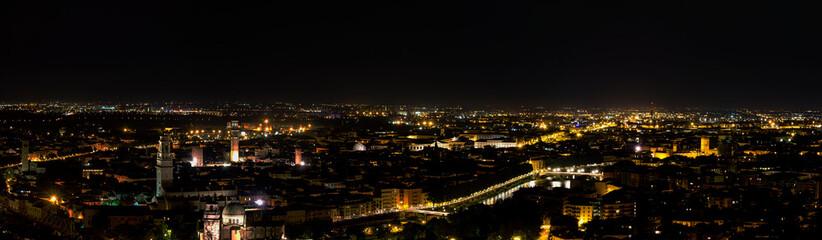Verona by night medieval Roman town near the river adige stone bridge