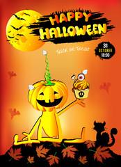 Счастливый Хеллоуин, иллюстрация, веселая тыква, фон оранжевый, редактируемый файл.