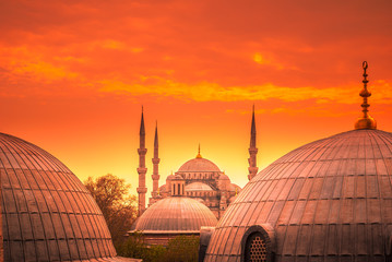 The Blue Mosque, Istanbul, Turkey. Sultanahmet Camii is one of the major attractions of the city. The photo was taken at sunset. Wall mural