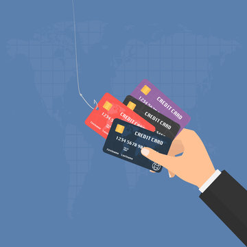 Businessman hand with multiple credit cards and fishing hook on world map background. Vector illustration business concept design.