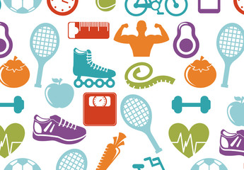 Colorful Fitness and Sports Icons Pattern