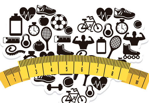 Black and White Fitness and Sports Icon-Patterend Heart with Measuring Tape Illustration