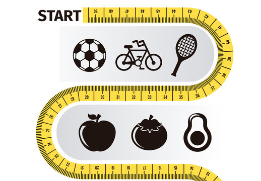 Health and Fitness Goal Infographic with Measuring Tape Element and Food/Sports/Medical Icons