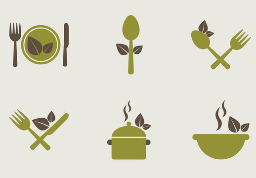 14 Organic Food and Cooking Icons in Neutral Tones