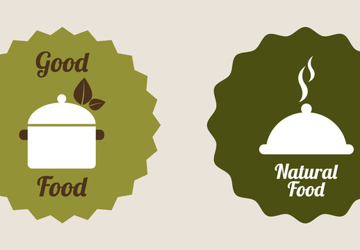 9 Organic Food and Cooking Icons in Neutral Tones