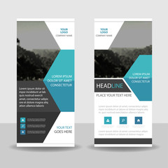 Blue black Business Roll Up Banner flat design template ,Abstract Geometric banner template Vector illustration set, abstract presentation brochure flyer template vertical template vector
