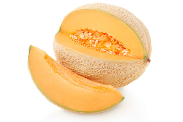 Cantaloupe melon and slice isolated on white, clipping path