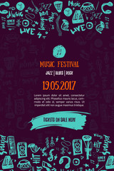 Music concert background. Festival modern flyer vector illustration. Music event Poster template design.