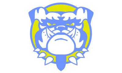 Blue and Gold Bulldog Sports Logo