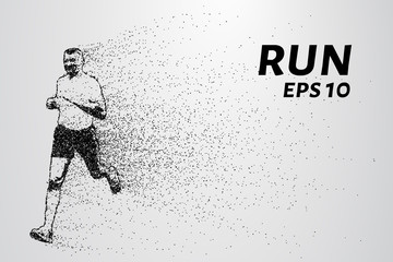 Run out of particles. Run out of points and circles. Runner breaks down into smaller molecules. Vector illustration