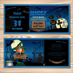 Invitation to Halloween night party. Cute young witch in a magic hat in the cemetery. Vector illustration